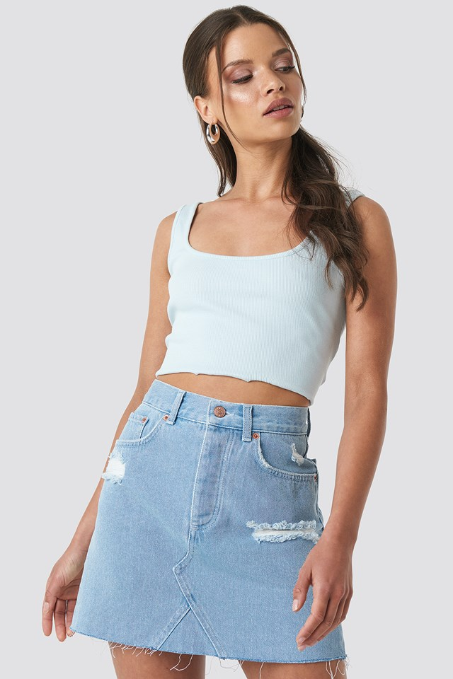 Distressed Denim Skirt Light Blue