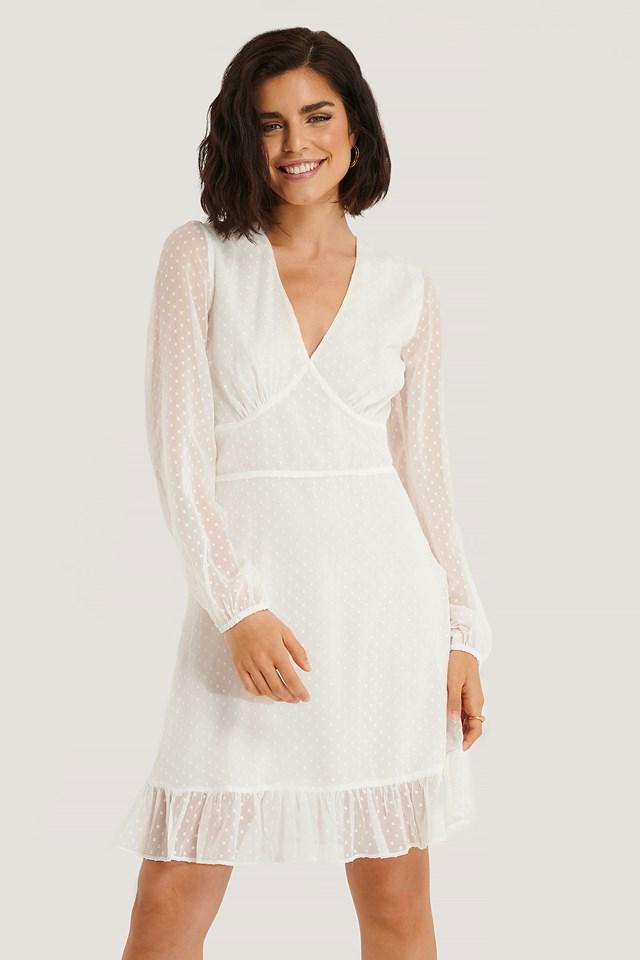 Dobby Marked Waist Mini Dress White