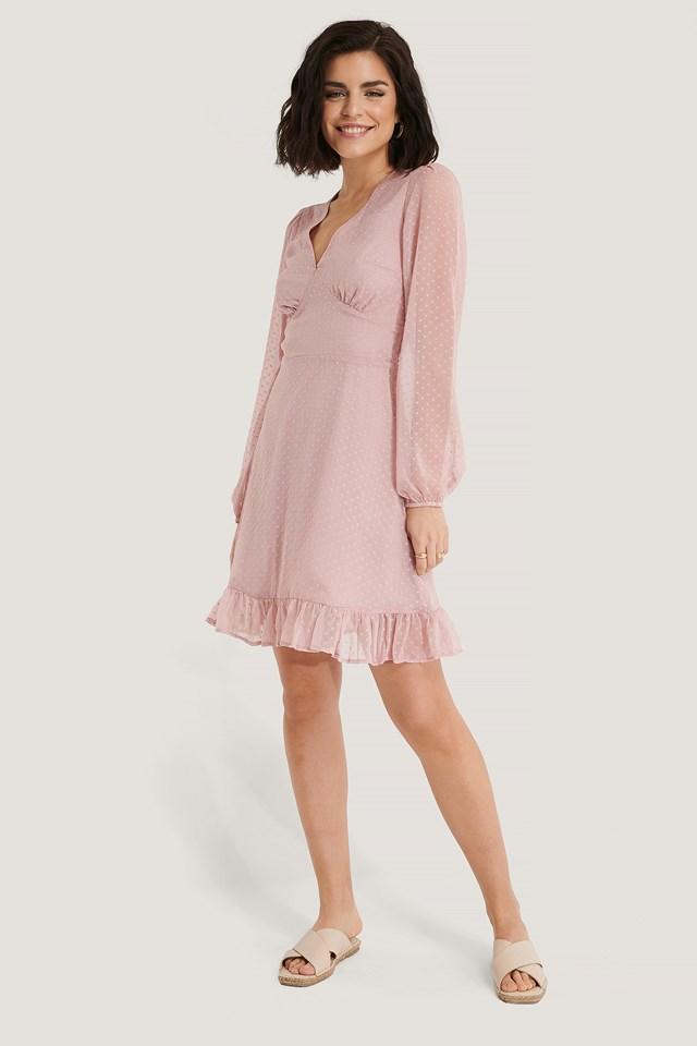 Dobby Marked Waist Mini Dress Dusty Pink