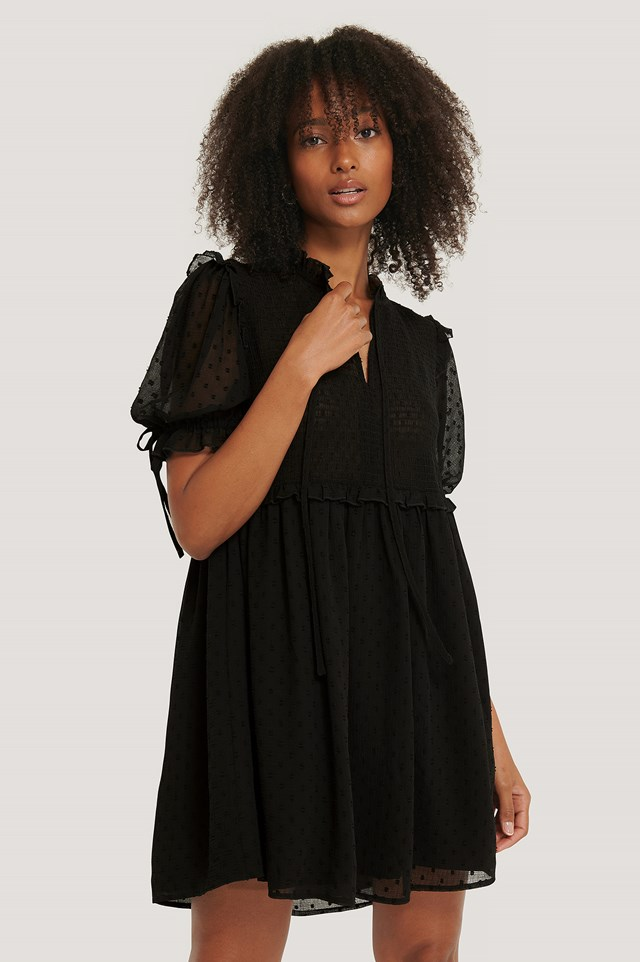 Dobby Smocked Mini Dress Black