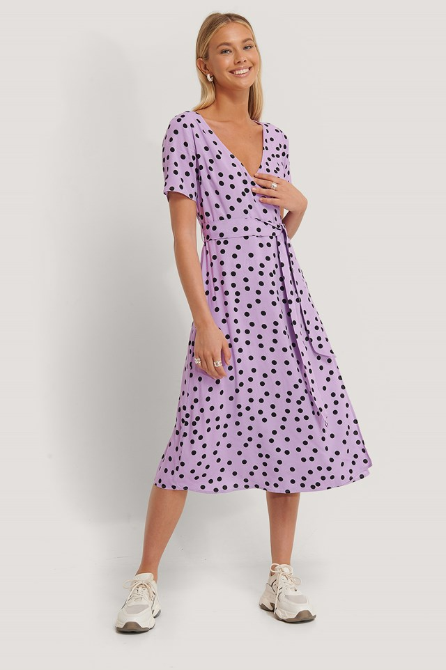 Dotted Overlap Midi Dress Lilac