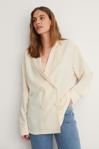 Off White Recycled Double Button Blazer Blouse