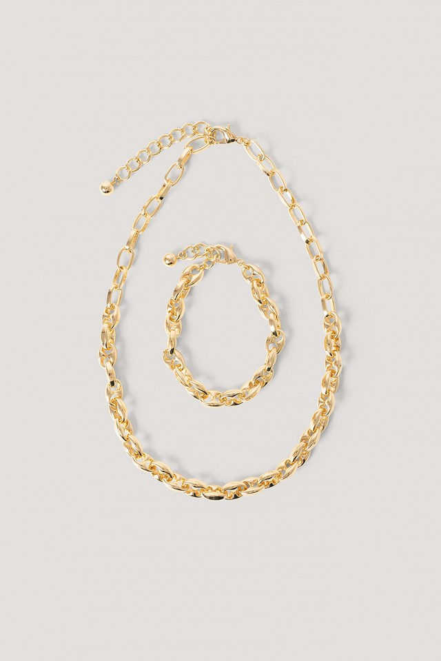 Double Hole Chain Necklace And Bracelet Gold