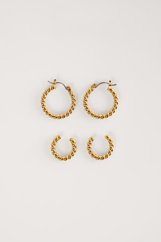 Gold Double Pack 18K Twisted Hoops
