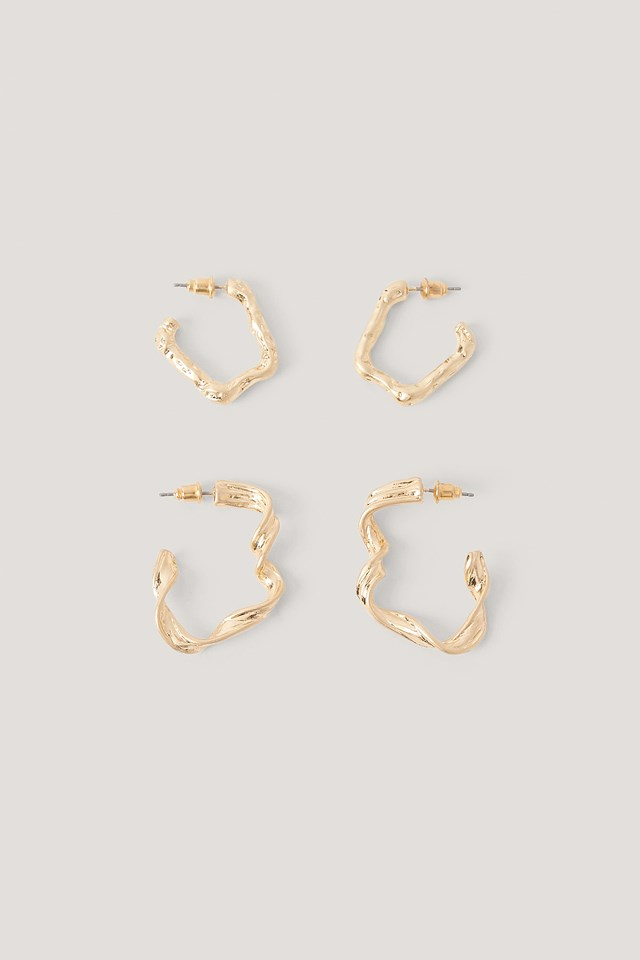 Double Pack Abstract Hoop Earrings Gold