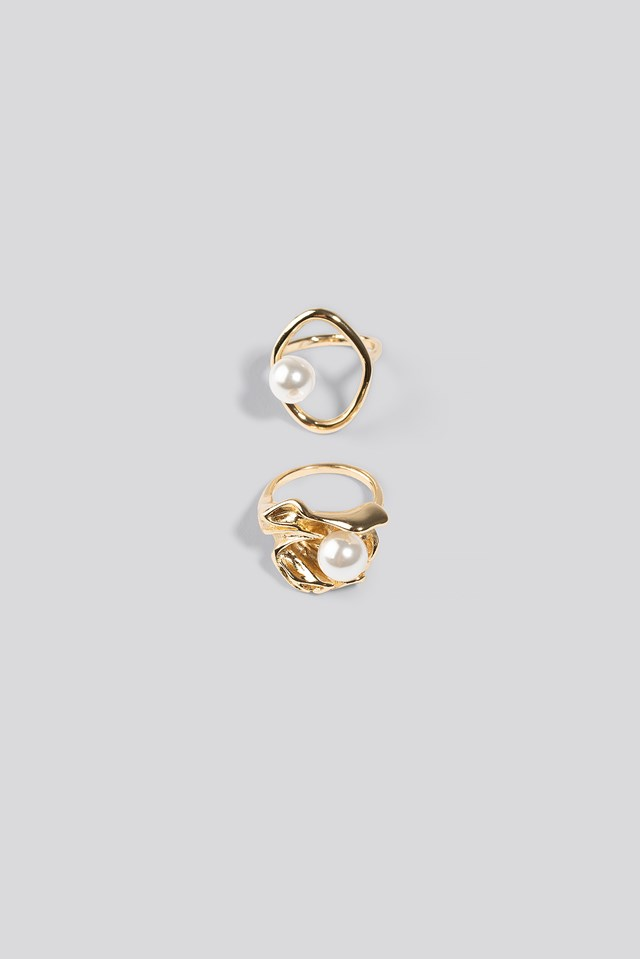 Double Pack Chunky Pearl Rings NA-KD Accessories