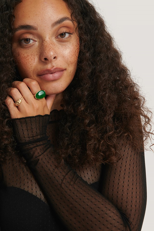 Double Pack Green Stone Rings Gold