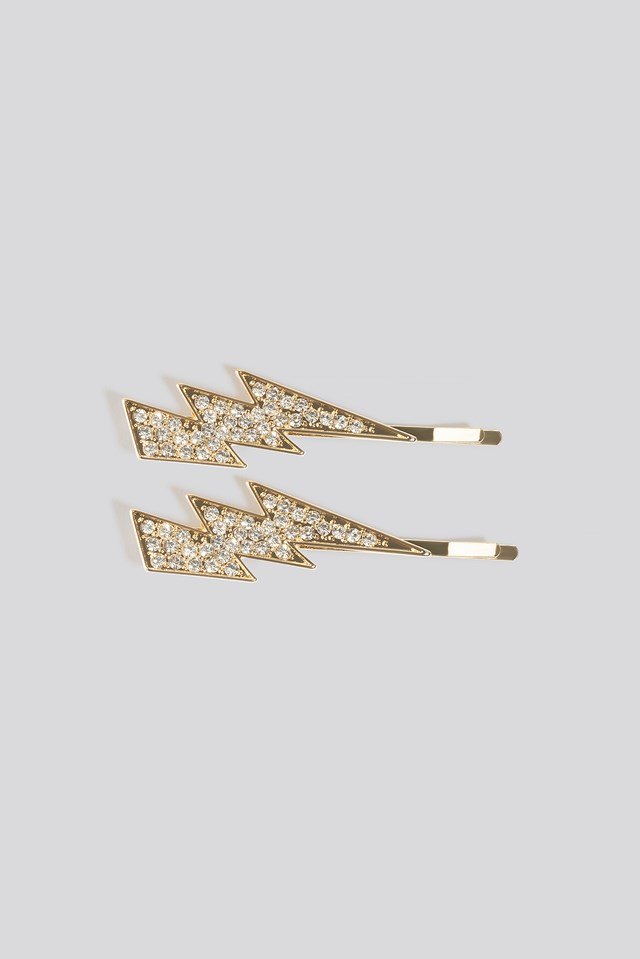 Double Pack Rhinestone Flash Hairpins Gold
