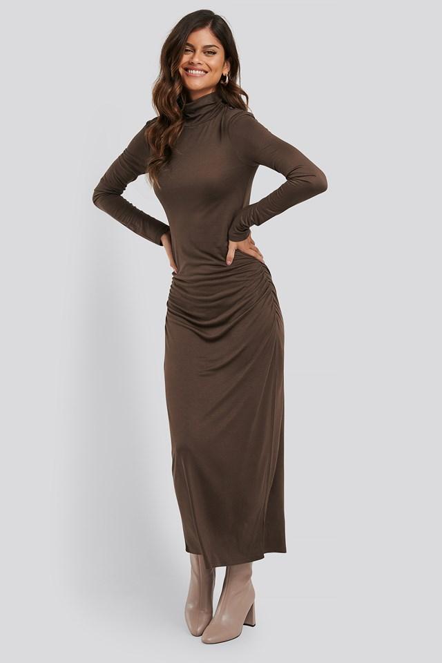Draped Polo Neck Dress Brown