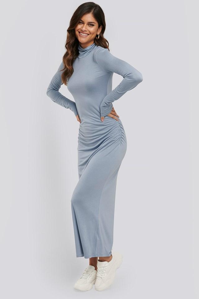 Draped Polo Neck Dress Stone Blue