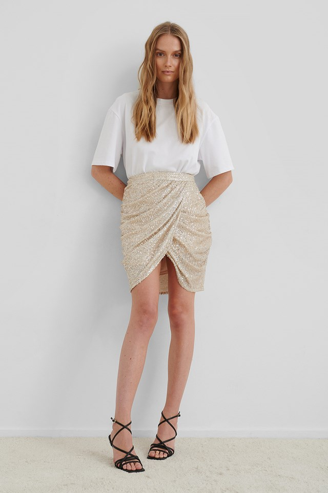 Draped Sequin Skirt Beige