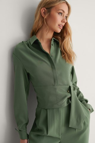 Green Draped Shoulder Blouse