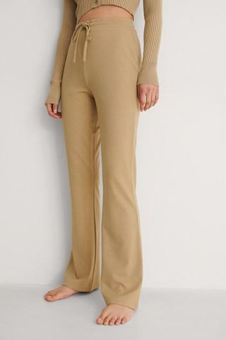 Dark Beige Drawstring Detail Bootcut Pants