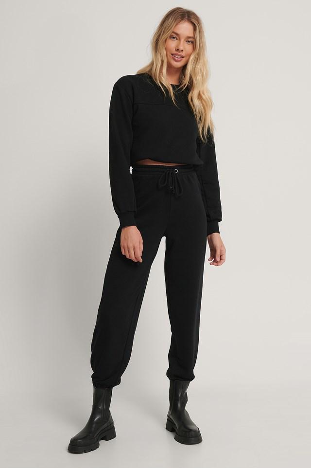 Drawstring Elastic Sweatpants Black