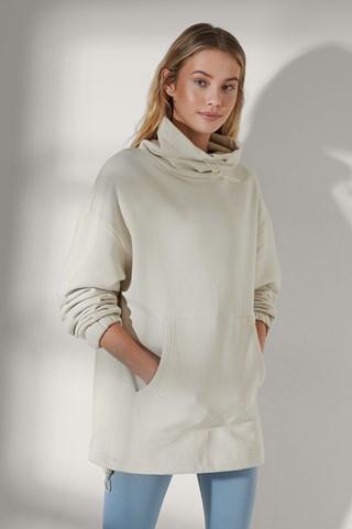 Light Beige Drawstring Neck Sweatshirt