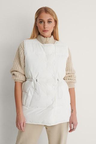 White Drawstring Padded Vest