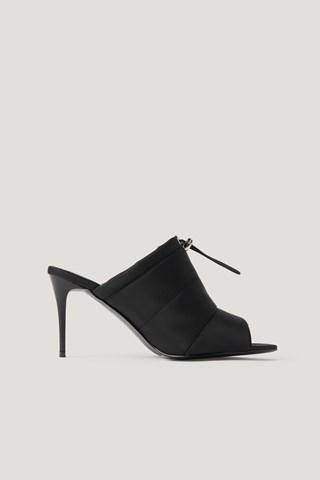 Black Drawstring Pointy Peeptoe Heels