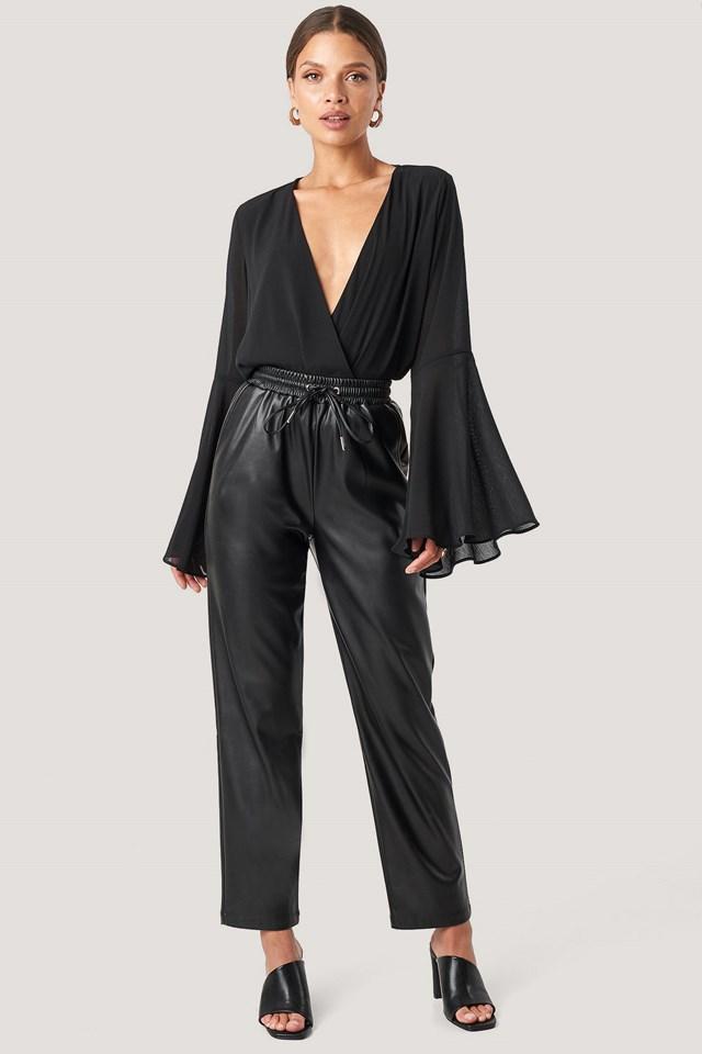 Drawstring Pu Pants Black