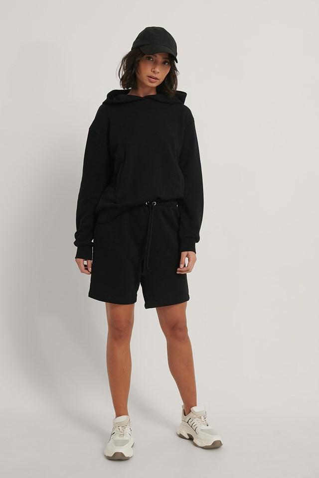 Drawstring Sweat Shorts Black