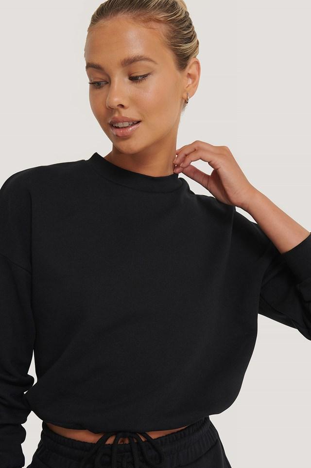 Organic Drawstring Sweatshirt Black