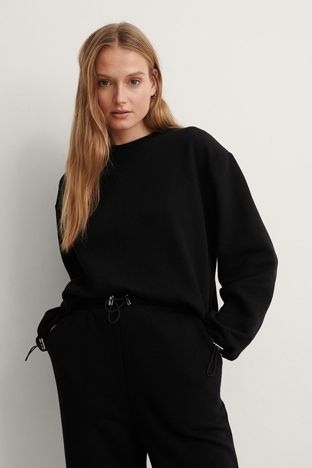 Black Drawstring Sweatshirt