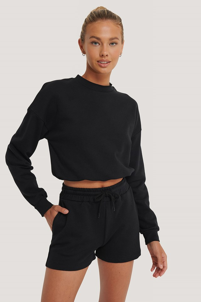 Organic Drawstring Sweatshirt Shorts Black