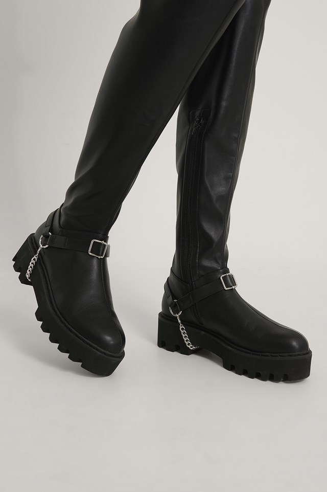 Drop Chain Boot Anklets Silver/Black