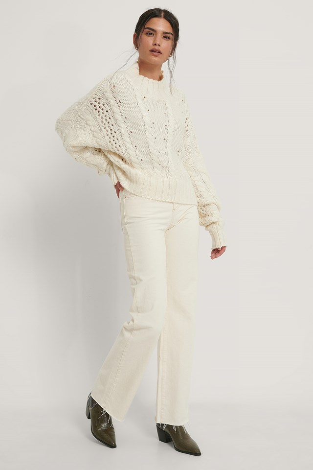 Dropped Shoulder Cable Knit Sweater Offwhite