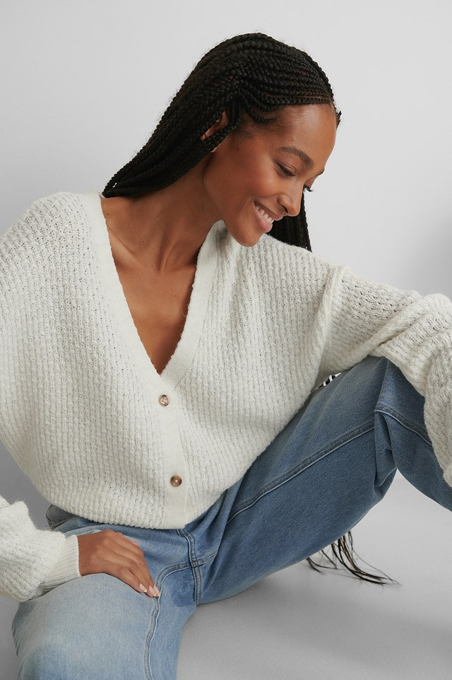 Dropped Shoulder Knitted Buttoned Cardigan White