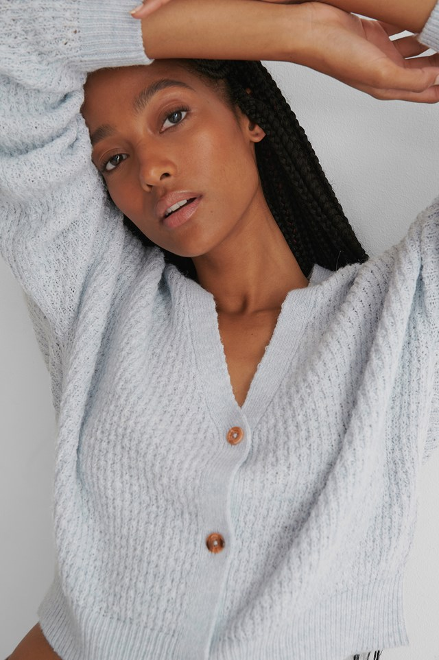 Dropped Shoulder Knitted Buttoned Cardigan Blue