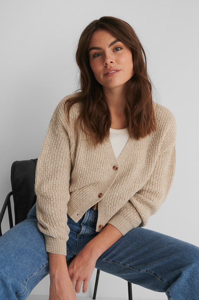 Dropped Shoulder Knitted Buttoned Cardigan Beige