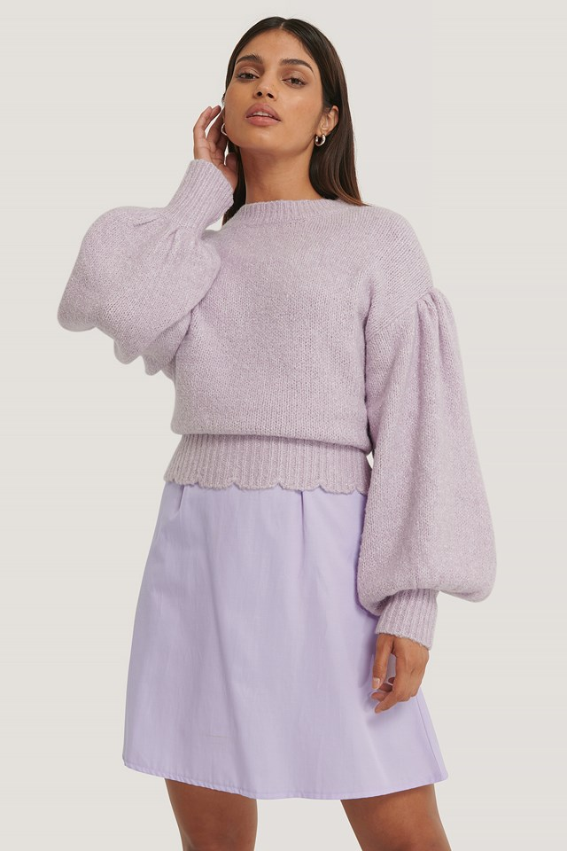 Dropped Sleeve Knitted Sweater Lilac
