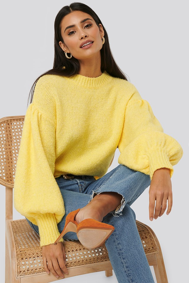 Dropped Sleeve Knitted Sweater Light Yellow