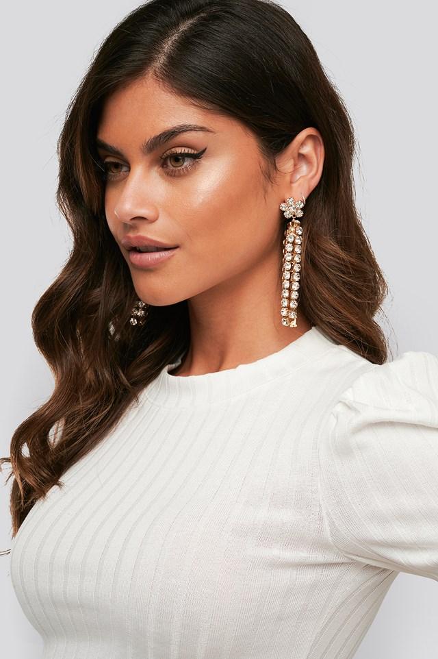 Gold Dropping Flower Strass Earrings