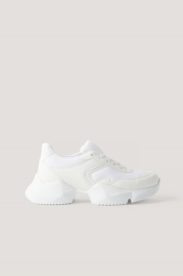 Edged Sole Chunky Trainers White