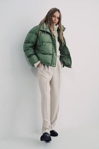 Green Elastic Detail Padded Jacket