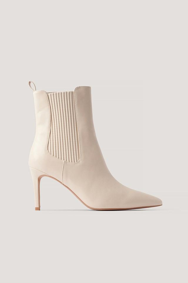 Elastic Detailed Stiletto Boots Cream