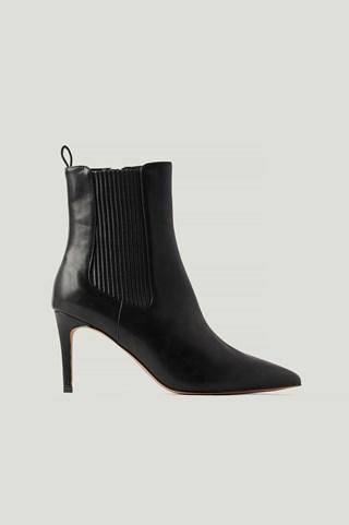 Black Elastic Detailed Stiletto Boots