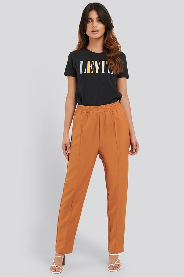 Elastic Waist Seamline Pants Orange