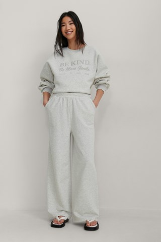 Grey Melange Organic Elastic Waist Wide Sweatpants