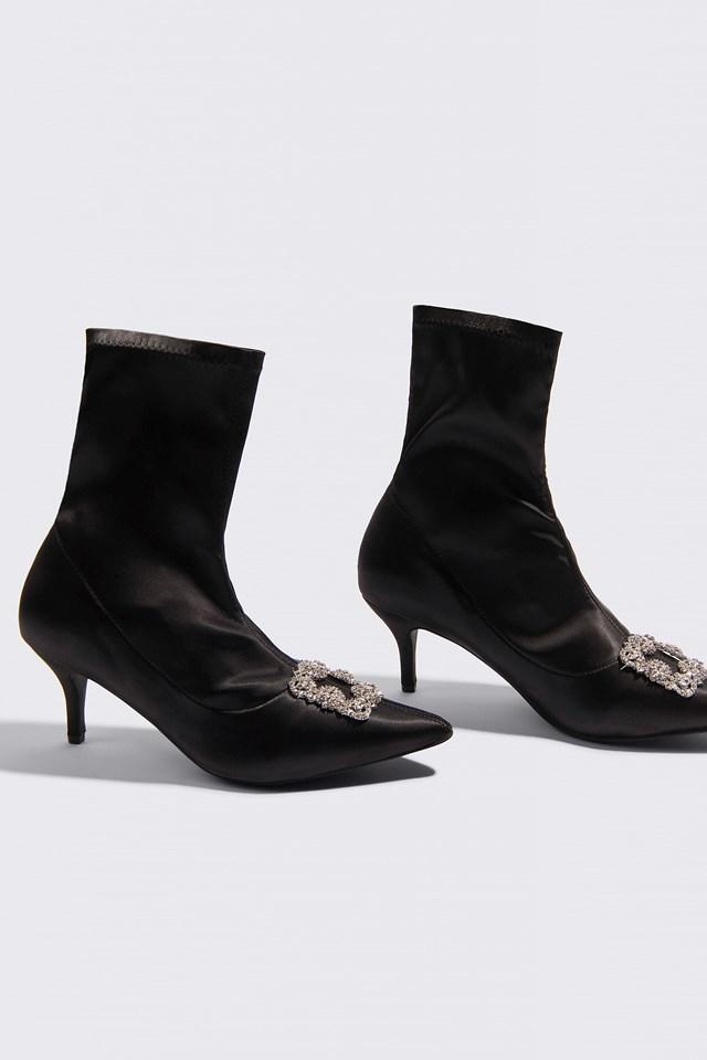 Embellished Satin Sock Boots NA-KD Shoes