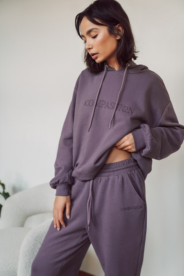 Purple Embroidery Detail Oversized Hoodie