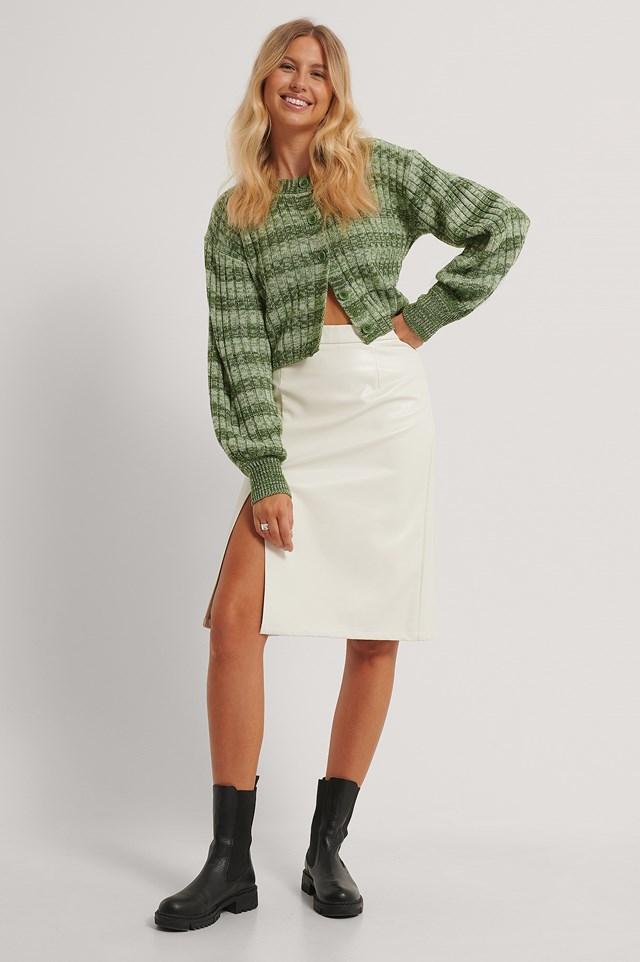 Side Slit Pu Skirt Off White