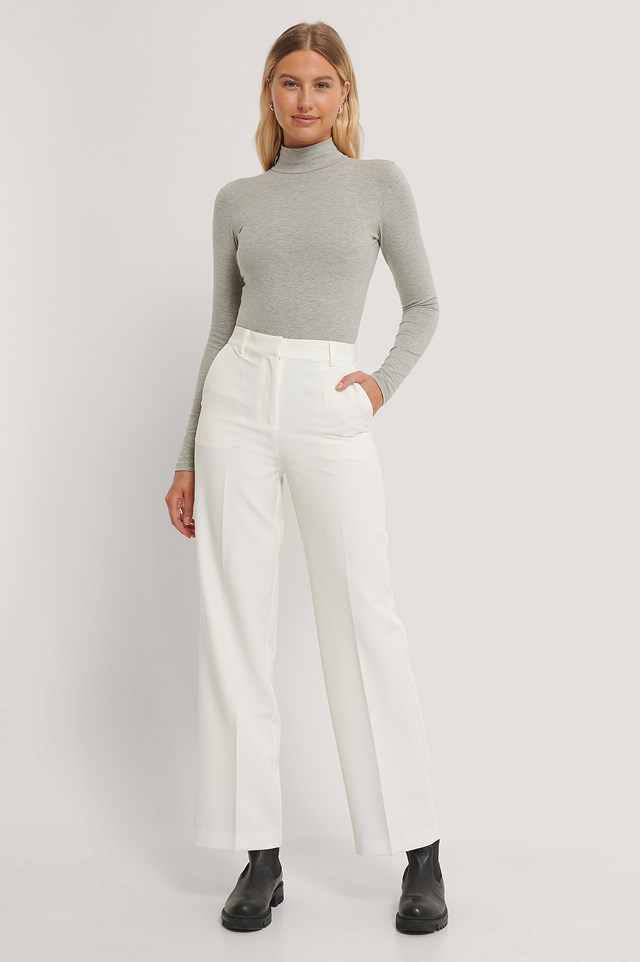 Straight Leg Suit Trousers White