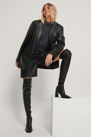 Black Extended Welt Thigh High Boots