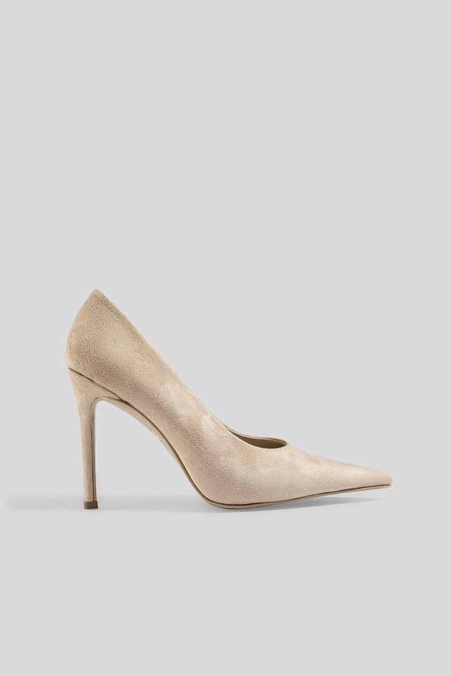 Extreme Pointy Stiletto Pumps Beige