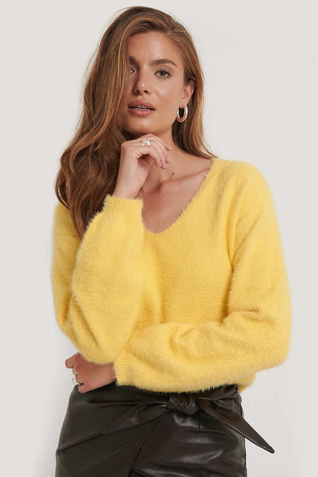 Dusty Yellow Feather Yarn Knitted Sweater