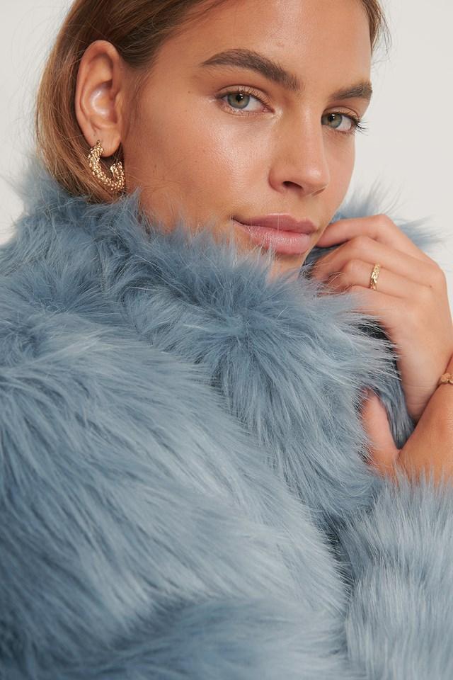 Faux Fur Coat Sky Blue