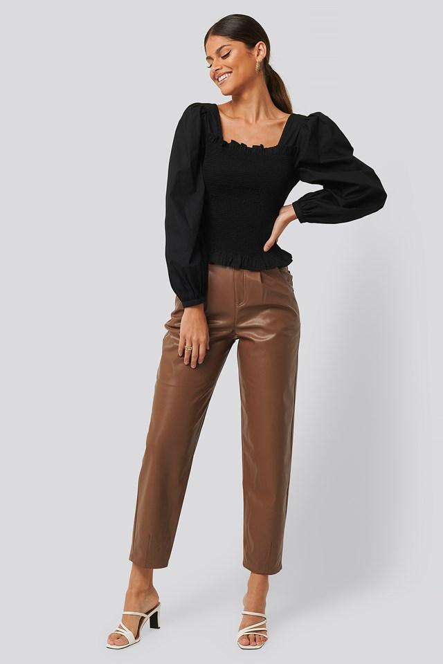 Faux Leather Ballon Leg Pants Camel