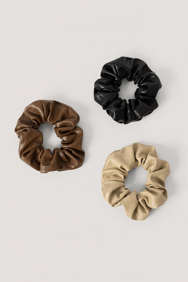 Faux Leather Scrunchies 3-Pack Beige